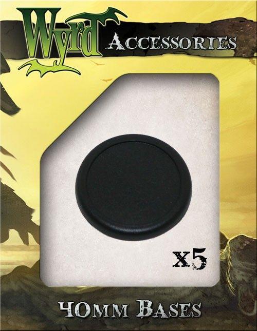 Black 40mm Premium Plastic Bases - 5 Pack