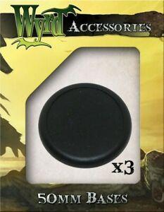 Black 50mm Premium Plastic Bases - 3 Pack